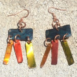 Playful Colorful Solid Copper Handmade Earrings